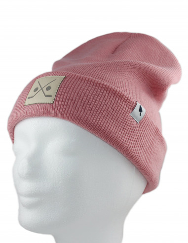 Stick and Puck Beanie Pink